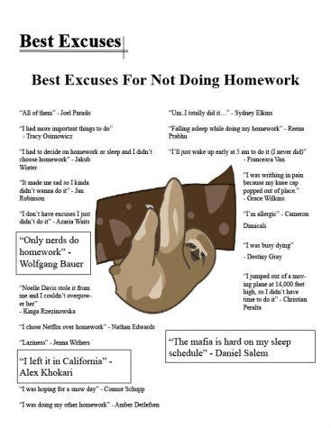 2016 Seniors' excuses for not doing homework