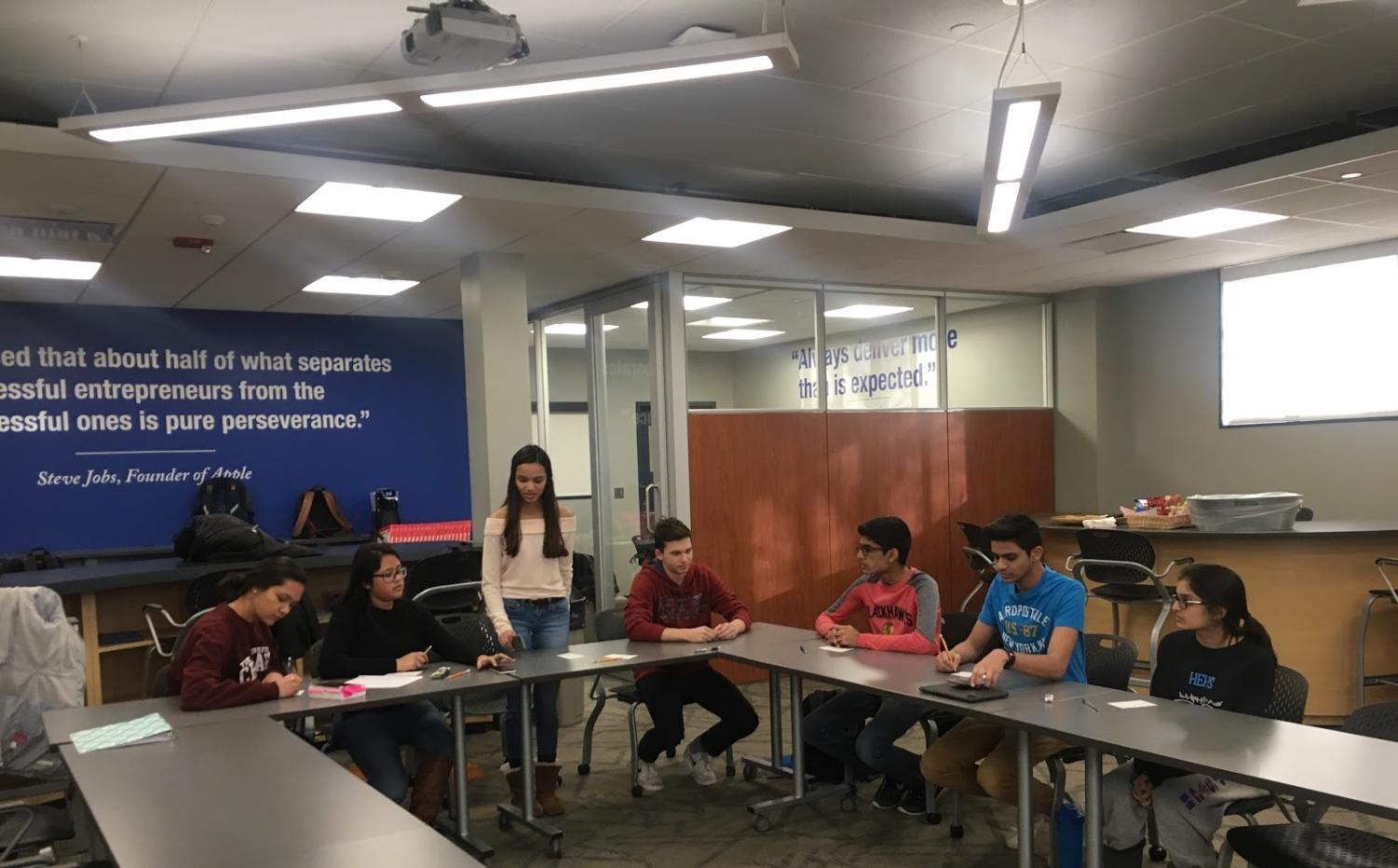 BPA team members prepare for the event Parliamentary Procedures Team. (from left to right: Emily Hunt, Meghna Dasgupta, Manushi Shah, Matthew Heroldt, Mihir Patel, Rushil Patel, and Hinal Patel)