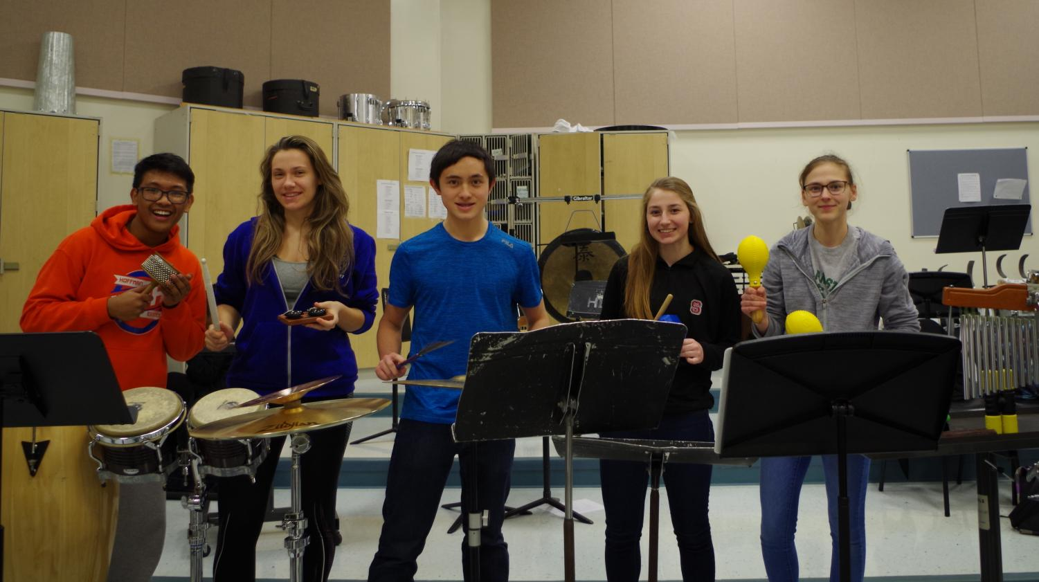 Percussion group photo: (Left-right) John Emiliano, Christina Wood, Brendan Gates, Haley Dellacqua, Amber Dellacqua