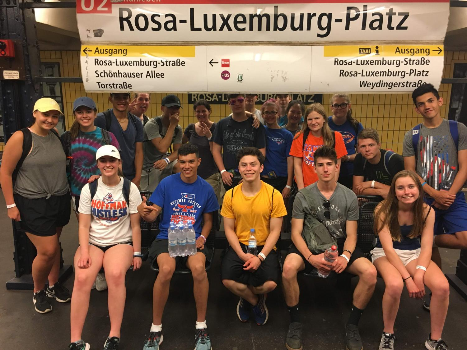 The group poses in a subway station in Berlin.