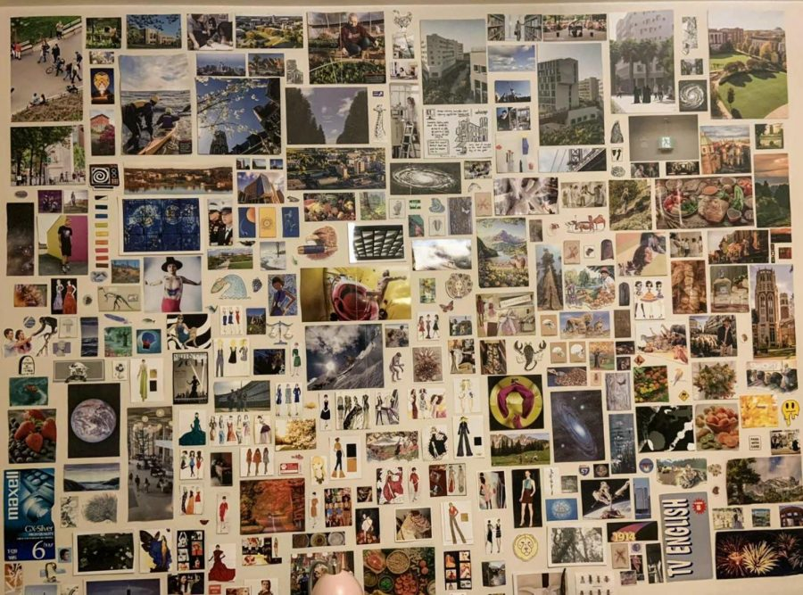 Geraldyne Guzman has found art to be a helpful outlet for her this year, spending her extra time at home creating this collage on her bedroom wall.